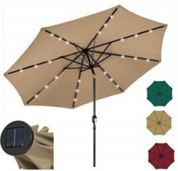 10ft Deluxe Solar LED Lighted Patio Umbrella with tilt adjustment-Multiple Colors  JYF-3008SU