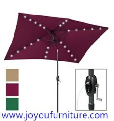 10'x6.5' Deluxe Solar LED Lighted Patio Umbrella with USB Charger & tilt adjustment-Multiple Colors JYF-3020SUB